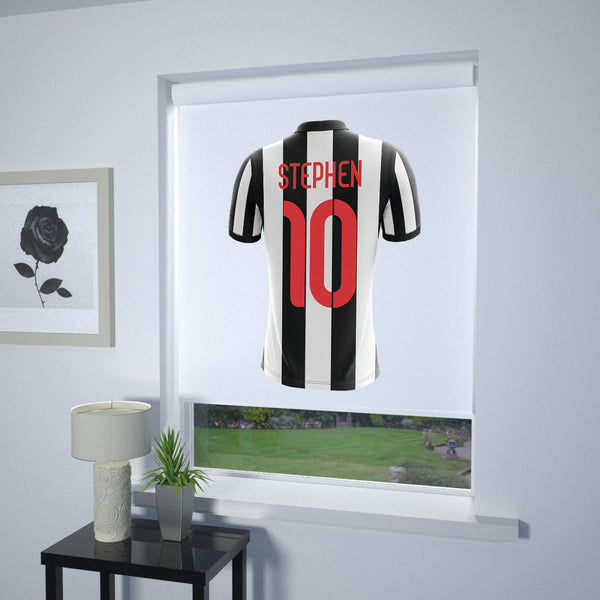 Football Personalised Roller Blind Black and White Stripe (White Background)
