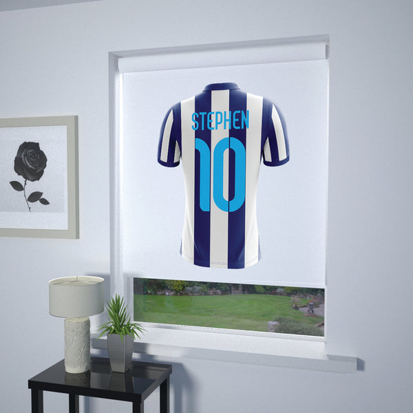 Football Personalised Roller Blind Blue and White Stripe (White Background)