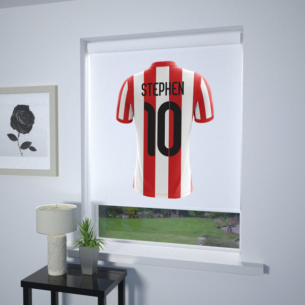 Football Personalised Roller Blind Red and White Stripe (White Background)