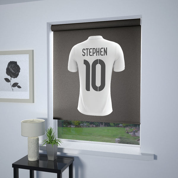 Football Personalised Roller Blind White (Grey Background)