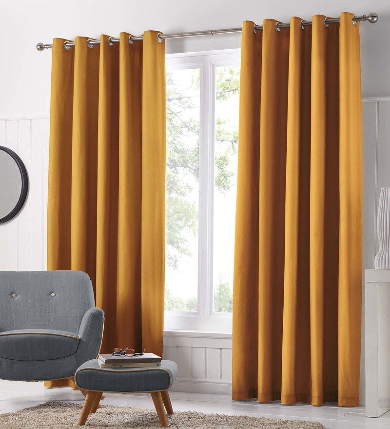 J Rosenthal Ready Made Curtains Freya Ready Made Eyelet Curtains Ochre Picture
