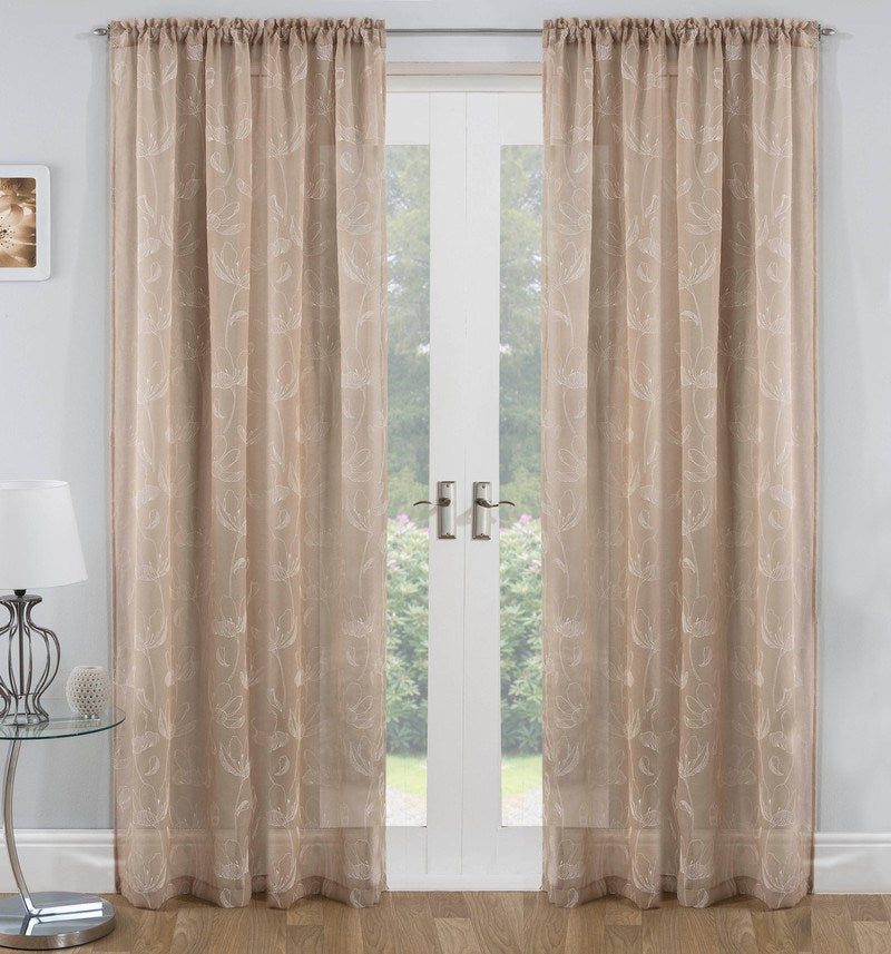 Tyrone Ready Made Curtains Freya Voile Panel Natural