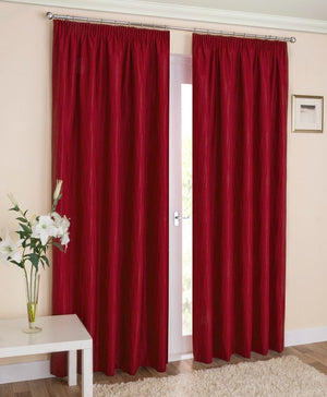 Galaxy Ready Made Blockout Lined Curtains Red