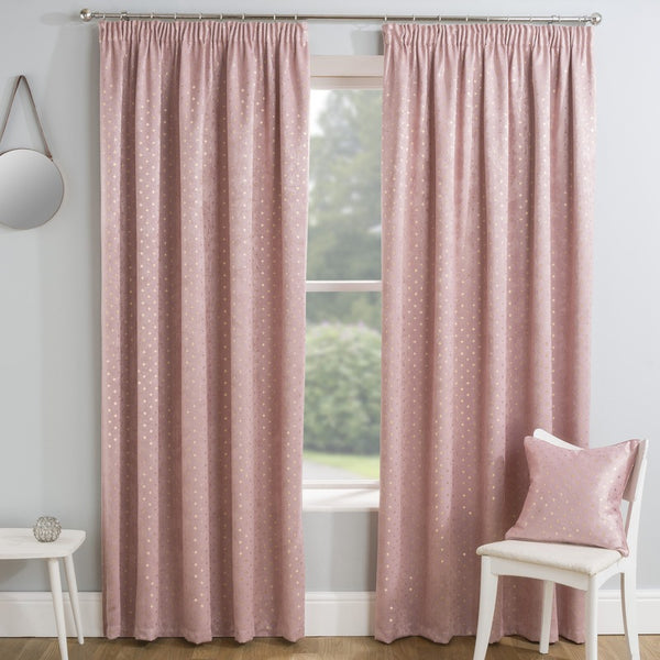 Gemini Ready Made Thermal Blockout Curtains Blush
