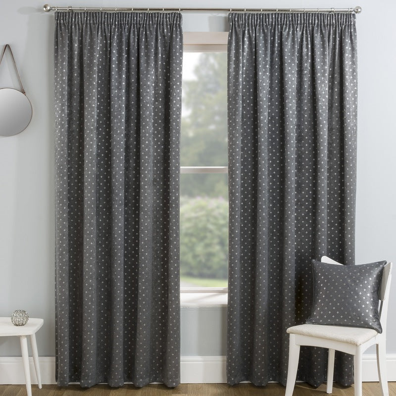 Tyrone Ready Made Curtains Gemini Ready Made Thermal Blockout Curtains Grey Picture