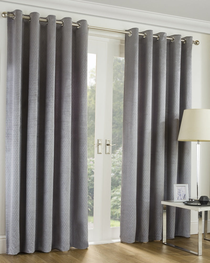Image of Embossed Geometric Ready Made Lined Eyelet Curtains Silver