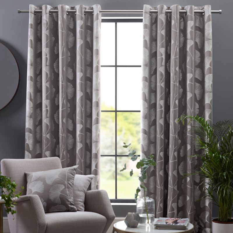 Belfields Ready Made Curtains  Gingko Ready Made Eyelet Curtains Steeple Grey