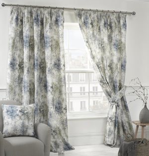 Woodland Ready Made Theme Print Lined Curtains Blue