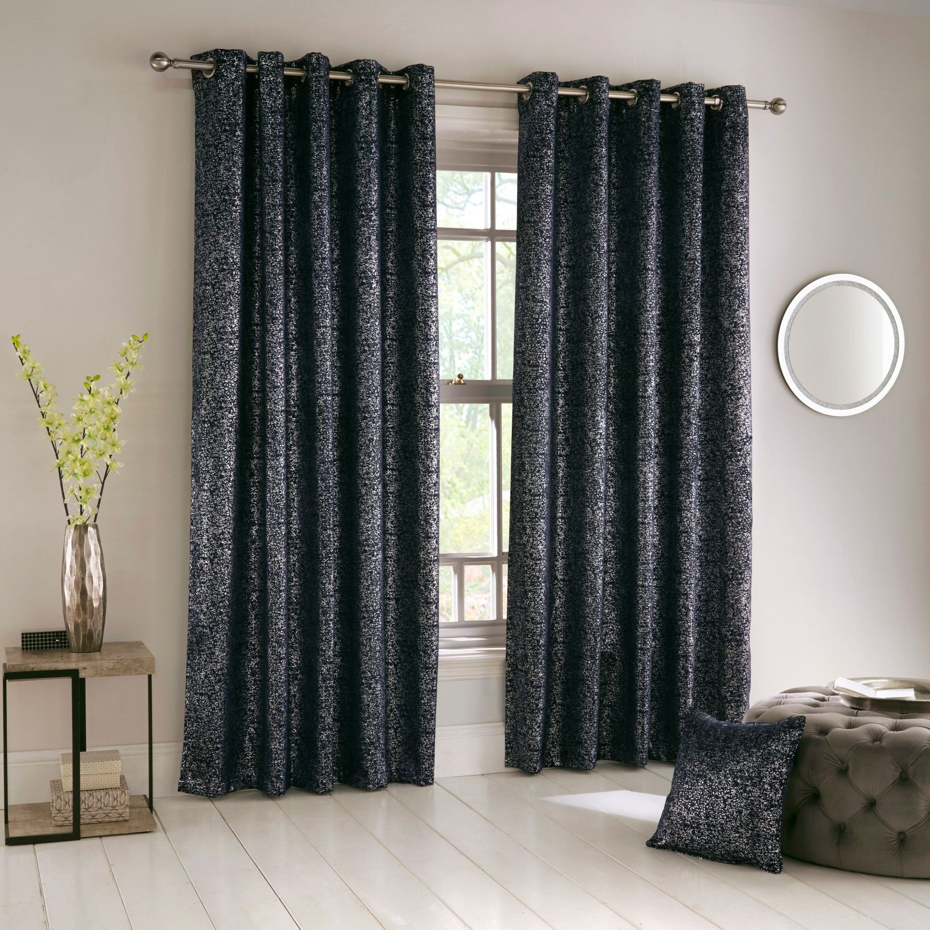 Halo Ready Made Eyelet Blockout Curtains Navy