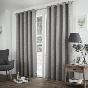 Harlow Thermal Blockout Eyelet Curtains Silver