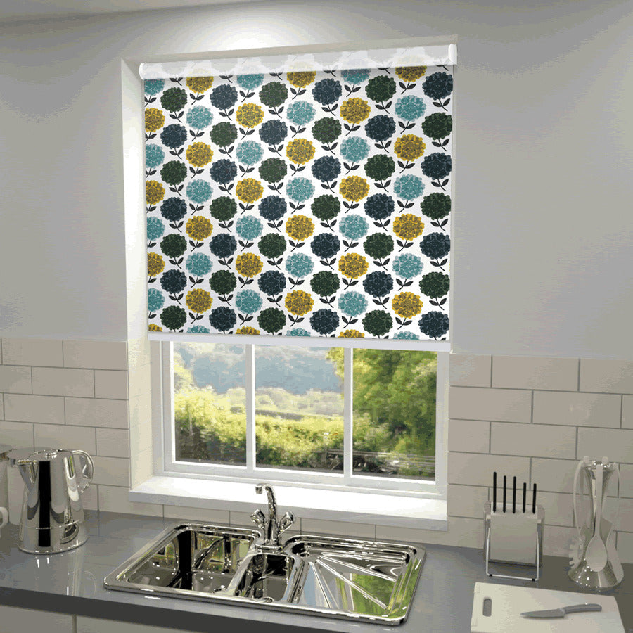 Illuminate Blinds Orla Kiely - Hydrangea Blackout Roller Blind Jade Picture