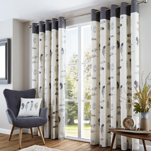 Idaho Ready Made Eyelet Lined Curtains Charcoal
