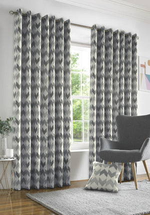Insignia Ready Made Lined Eyelet Curtains Silver