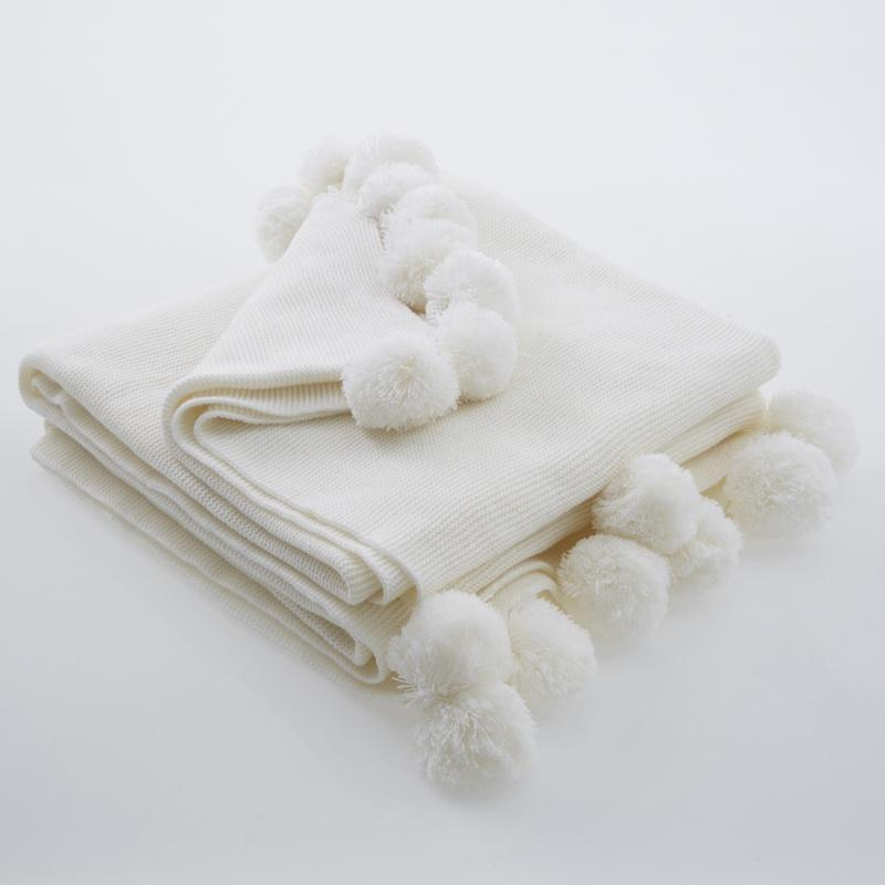 Clarke and Clarke Cushions and Throws  Oasis - Pom Pom Throw Ivory