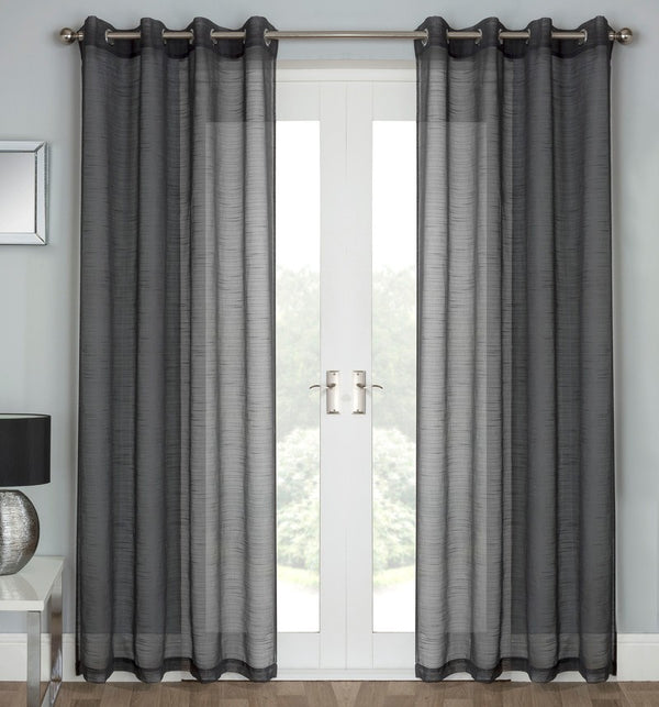 Jazz Ready Made Eyelet Voile Panel Charcoal