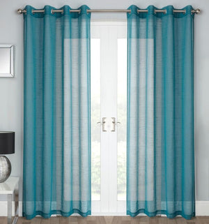Jazz Ready Made Eyelet Voile Panel Teal