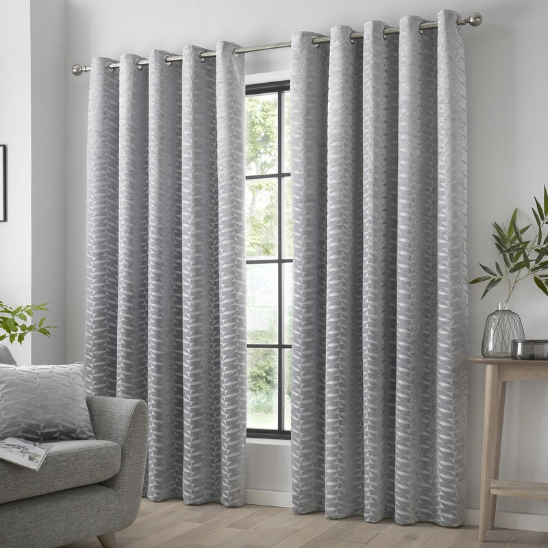 J Rosenthal Ready Made Curtains Kendal Ready Made Eyelet Curtains Silver Picture