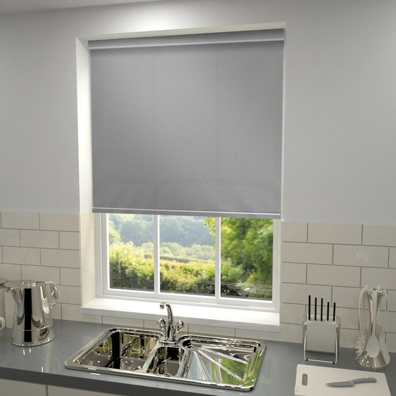 Made To Measure Plain Dim-out Complete Roller Blind Grey Splash Tropez