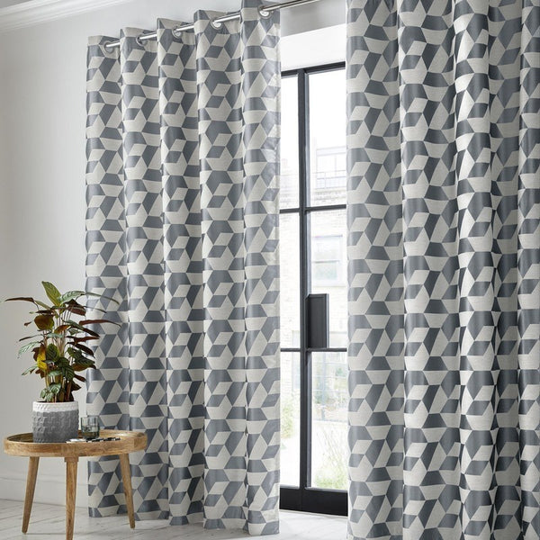 Kinetic Ready Made Blackout Eyelet Curtains Steel