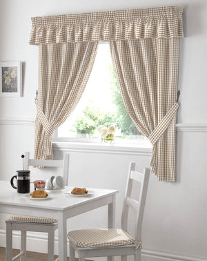 Gingham Value Curtains Beige