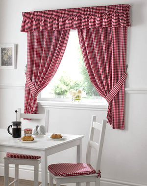 Gingham Value Curtains Red