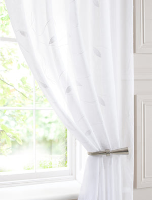 Leaf Voile Curtain Panel White