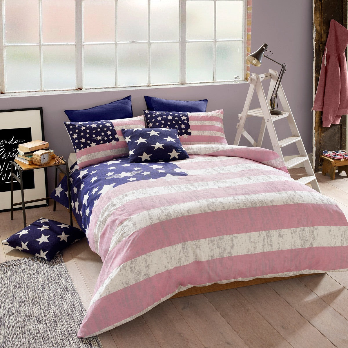 Ashley Wilde Bedding  American Freshman Lenox Bedding Pink