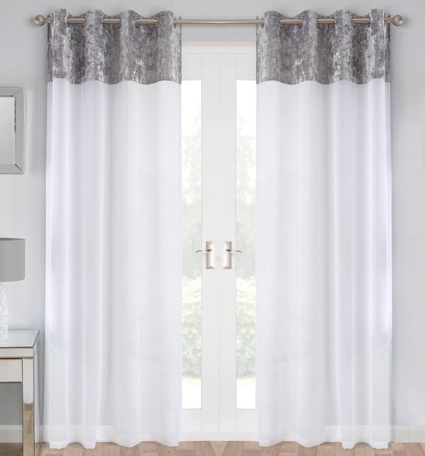 Liberty Ready Made Eyelet Voile Panel Silver