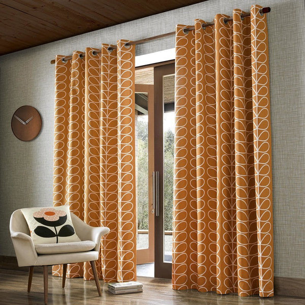 Orla Kiely - Linear Stem Eyelet Curtains Papaya