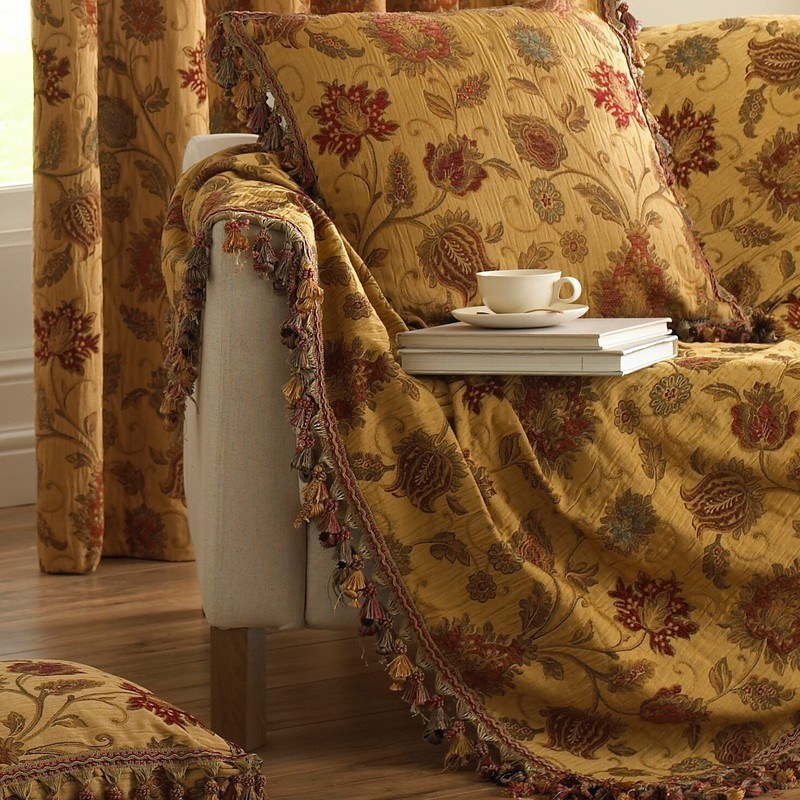 Riva Cushions And Throws Lucerne Throw Gold Picture