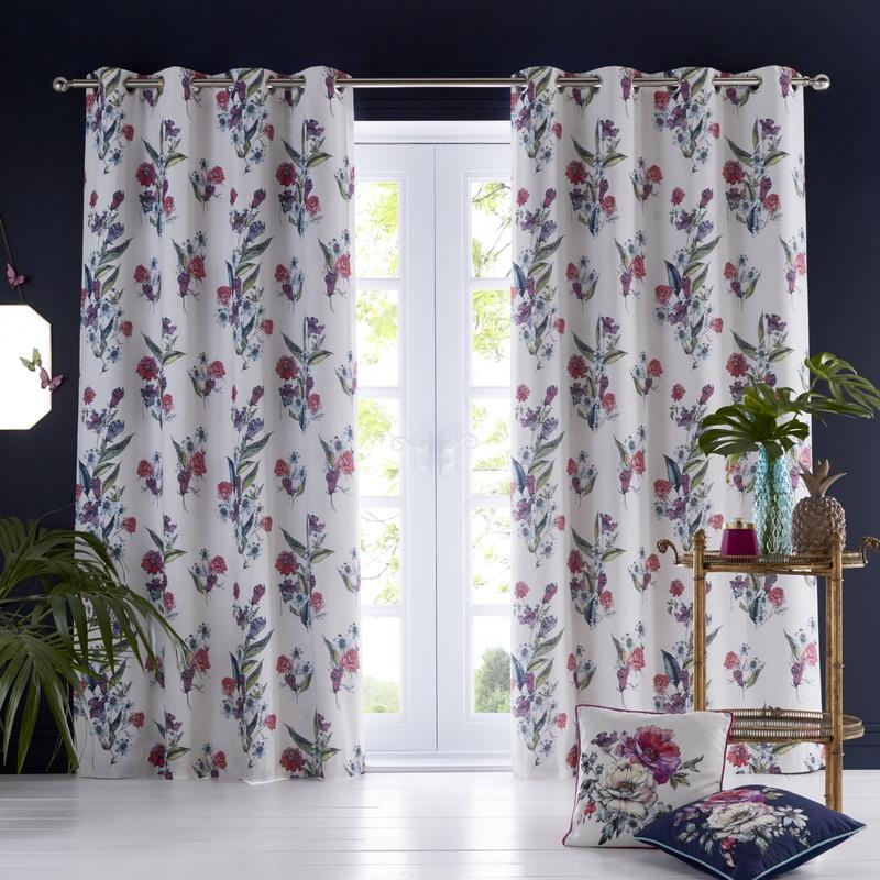 Clarke and Clarke Ready Made Curtains  Oasis - Luna Ready Made  Eyelet Curtains Ivory