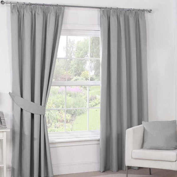 Julian Charles Luna Ready Made Blackout Curtains Silver / Grey