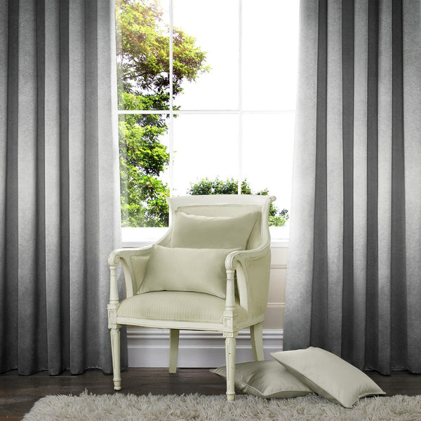 Lusso Ready Made Velour Eyelet Curtains Silver