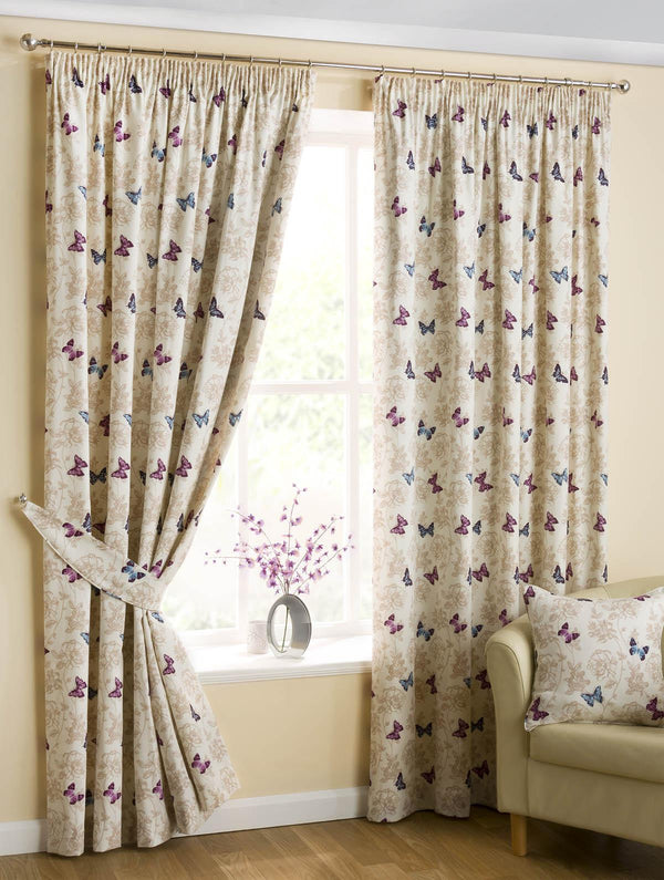 Butterfly Ready Made Lined Curtains Mauve