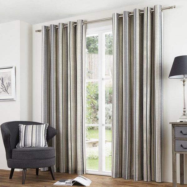 Melrose Stripe Readymade Eyelet Lined Curtains Charcoal