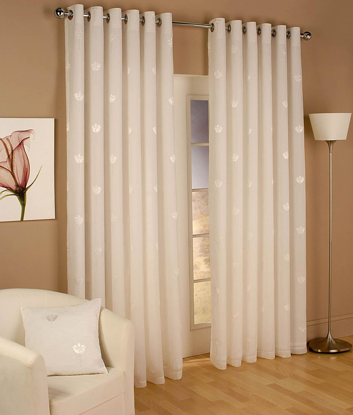 Tyrone Ready Made Curtains Miami Eyelet Voile Curtains Natural Picture