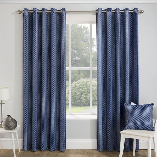 Miami Thermal Blockout Ready Made Eyelet Curtains Navy