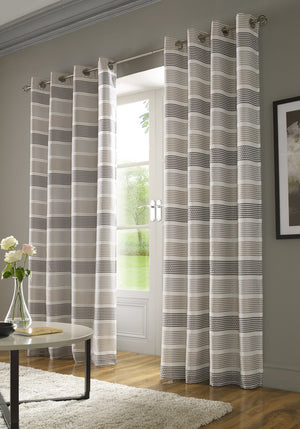 Moda Ready Made Lined Voile Eyelet Curtains Black