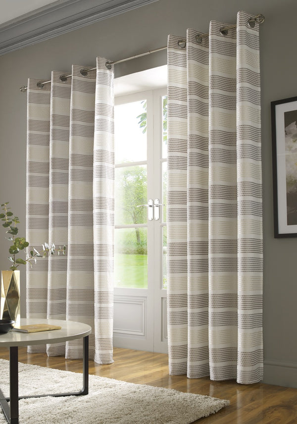 Moda Ready Made Lined Voile Eyelet Curtains Cream