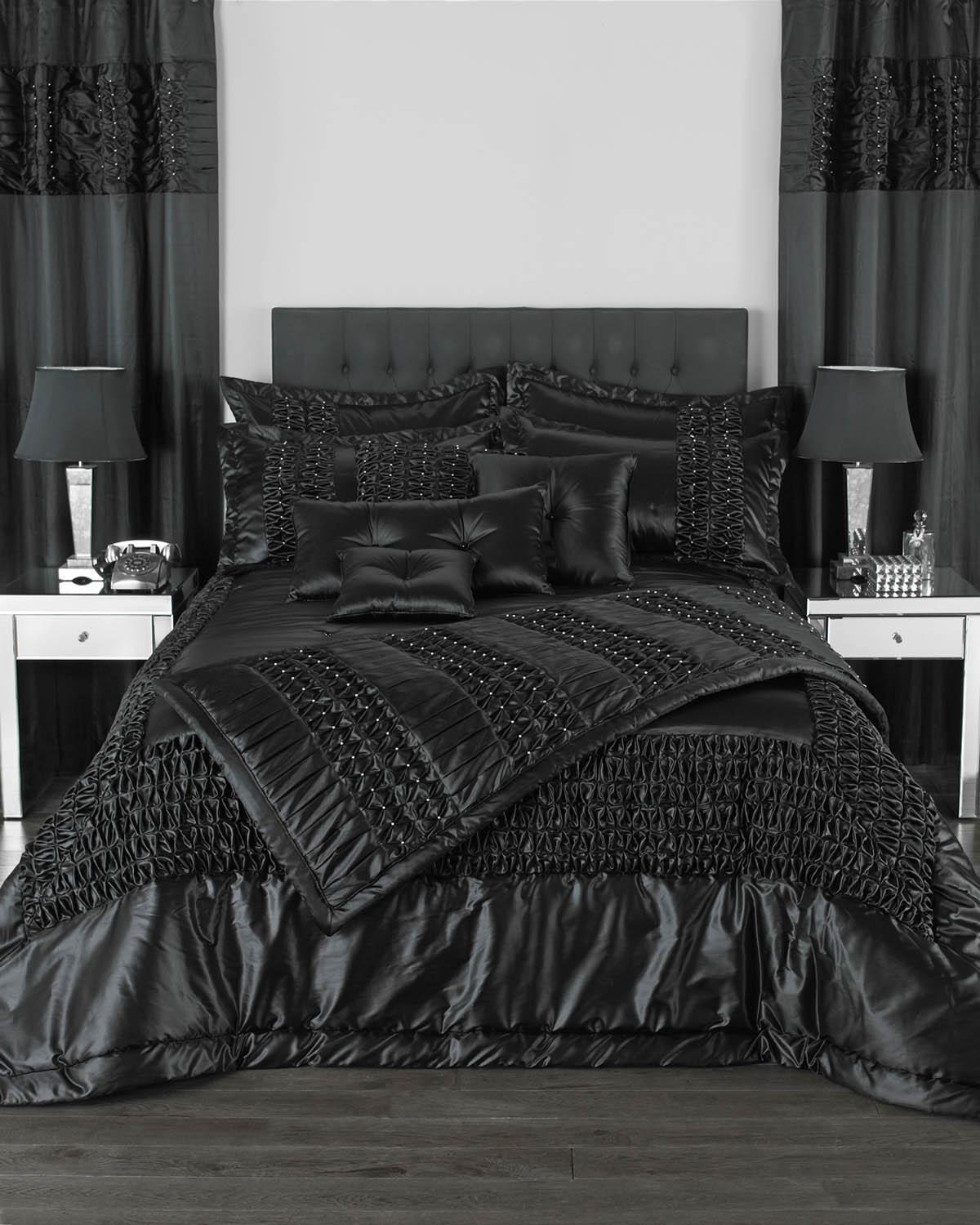 Riva Cushions And Throws Monte Carlo Bedspread Collection Black Picture
