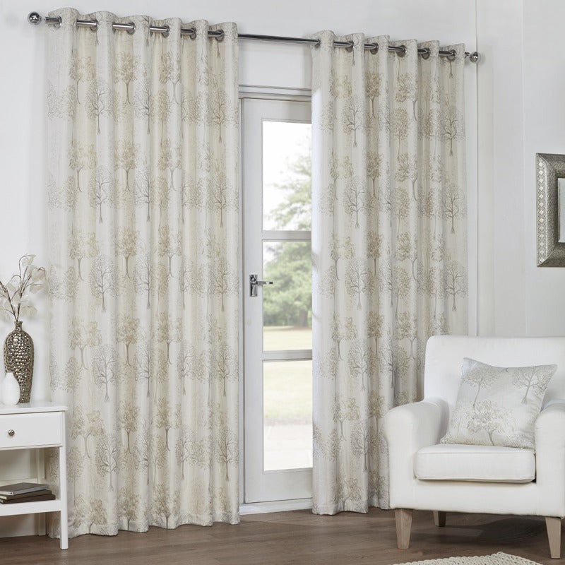 AWC Ready Made Curtains Mulberry Ready Made Lined Eyelet Curtains Champagne Picture