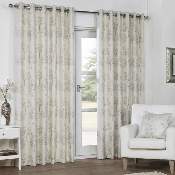 Mulberry Ready Made Lined Eyelet Curtains Champagne