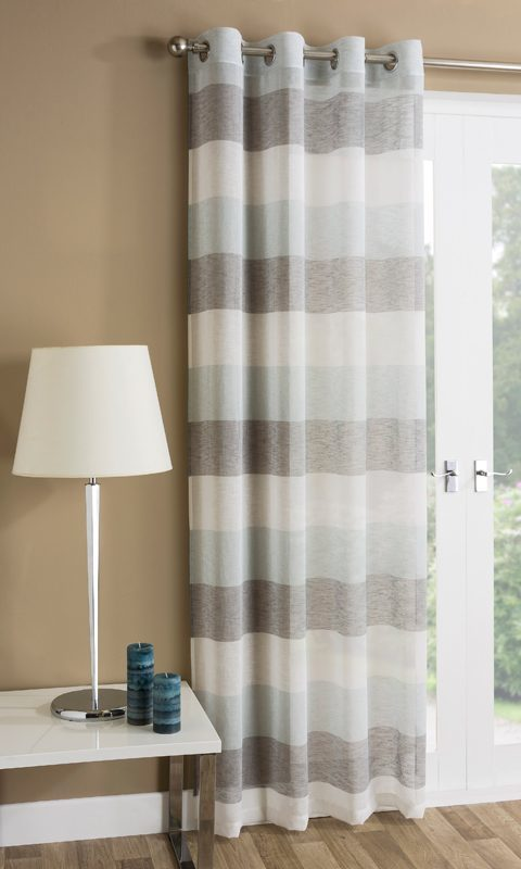 Tyrone Ready Made Curtains Mykonos Eyelet Voile Panel Duck Egg Picture