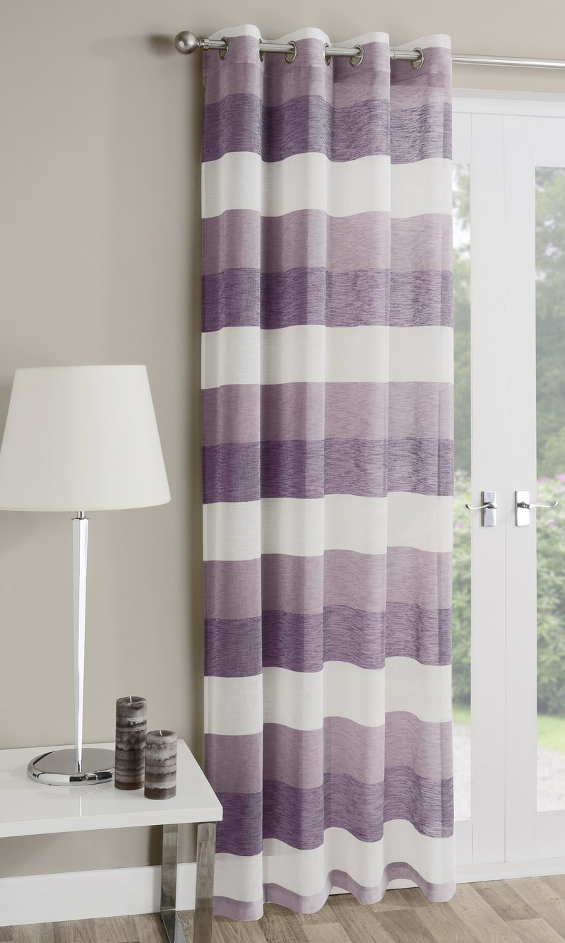 Tyrone Ready Made Curtains Mykonos Eyelet Voile Panel Heather