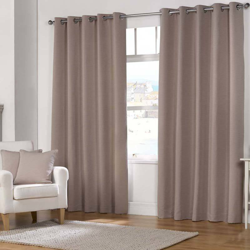 Julian Charles Naples Fully Lined Eyelet Curtains Mocha