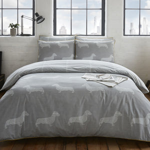 Racing Green - Newsprint Bedding Set Grey