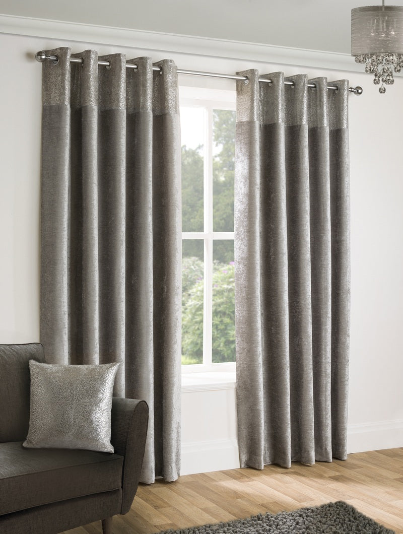 Belfields Ready Made Curtains  Nova Ready Made Lined Eyelet Curtains Silver