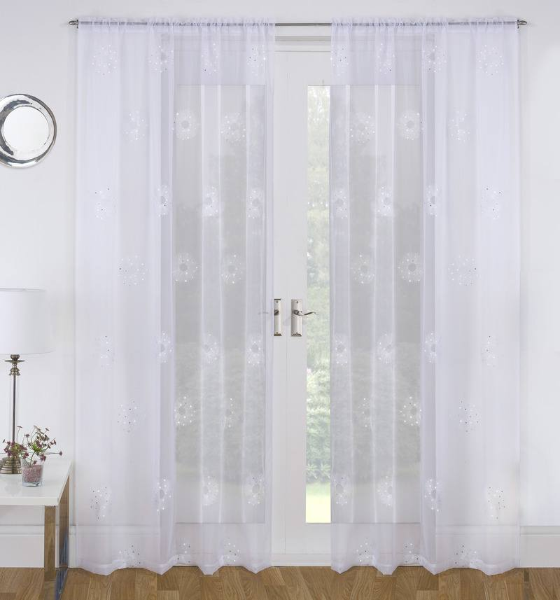 Tyrone Ready Made Curtains Nova Voile Panel White Picture