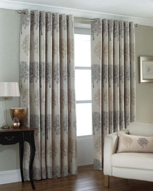 Oakdale Ready Made Lined Eyelet Curtains Silver