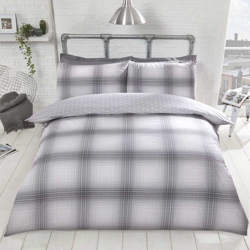 Rapport Beds Oakland Check Bedding Set Grey Picture